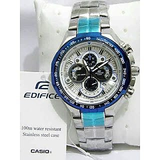 CASIO EDIFICE EF554D 7AVD WHITE BLUE DIAL CHRONOGRAPH MENS WRIST WATCH