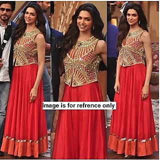 Deepika Padukone Floor Length Anarkali  Dress Bollywood Replica