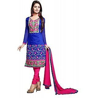 Dks Designer Blue Chanderi Chiffon Embroidered Dress Material