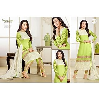 Designer Georgette Embroidery And Hand Work Semi Stitched Suit -50007