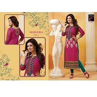 Desingar Cotton Embroidery Top With Cotton Bottom And Chiffon Dupatta-7911