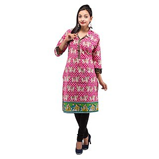 Rash Collection Pink Printed Collar Neck 3/4 Sleeves Long Kurti