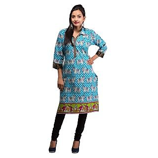 Rash Collection Turquoise Printed Collar Neck 3/4 Sleeves Long Kurti