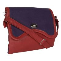 DnS LADIES SLING SADDLE MESSENGER TYPE BAG COLOUR RED VOILET LOCK TYPE B053