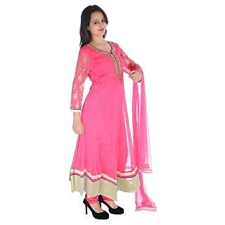 Anarkali Free Size Net Fabrice Embrodered Long Stiched Dress With Dupatta