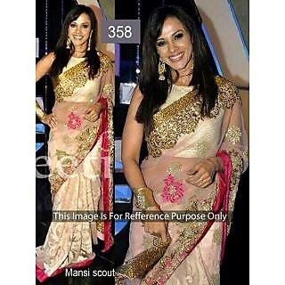 Mansi Scout Designer Cream Bollywood Replica Saree