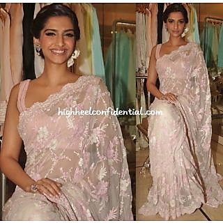 Sonam Kapoor High Light Pink Net Saree