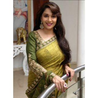 Bollywood Saree Madhuri Dixit Mehndi Bollywood Replica Thread Work Saree
