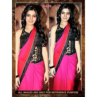 Bollywood Sarees: Samantha In Black Pink Bollywood Replica Saree