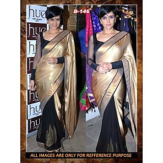 Designer Mandira Bedi Stylish Bollywood Replica Tunic Black & Golden Color Sari