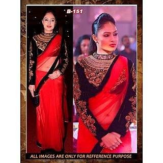Red Net-Velvet Designer Deepika  Bollywood Replica Saree