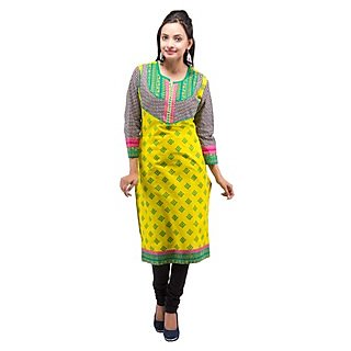 Rash Collection Yellow Embroidered Round Neck With Black And White Sleeves Kurti