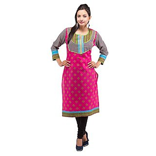 Rash Collection Pink Embroidered Round Neck With Black And White  Sleeves Kurti