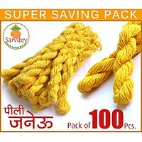 Janeo Janeu Yagyopavit Yellow Sacred Holi Thread 100 Pcs. Pack Long Size To Wear