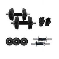 22 Kg Adjustable Rubber Dumbells With Rubber Coated Dumbells Rods & Leather Gym Gloves