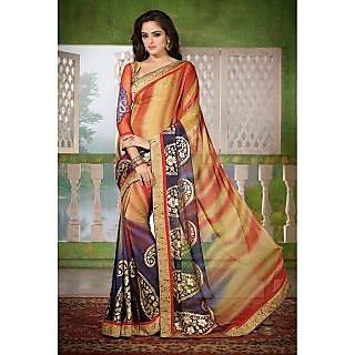 Sambhav Faux Georgette Boarder Worked Saree  Multi Colour