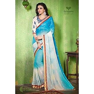 Sambhav Chiffon Boarder Saree Blue And White
