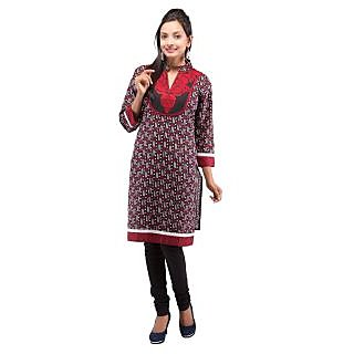 Rash Collection Red And Black Embroidered  Collar Neck 3/4 Sleeves Cotton Kurti