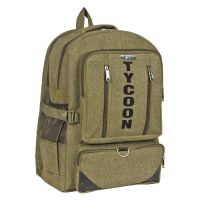 "DnS STYLISH BACKPACK 16"" GREEN CANVAS TYPE WITH 2 MAIN COMPARTMENTS B064"