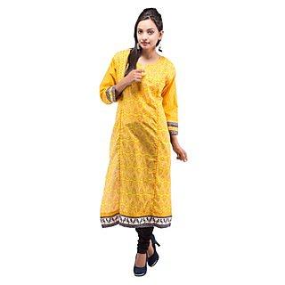 Rash Collection Yellow Cotton Printed Round Neck 3/4 Sleeves Long Kurti