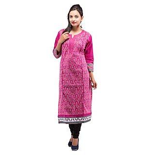 Rash Collection Pink Cotton Printed Round Neck 3/4 Sleeves Long Kurti
