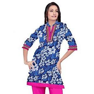 Rash Collection Blue And Rani Embroidered  Collar Neck 3/4 Sleeves Long Kurti