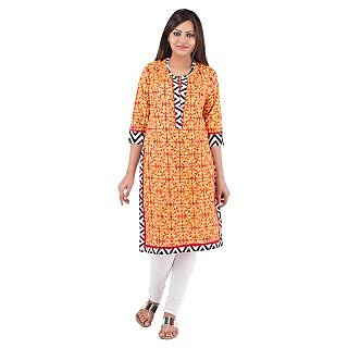 Rash Collection Orange Printed Cotton Round Neck 3/4 Sleeves Long Kurti