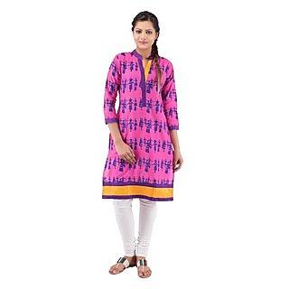 Rash Collection Pink Plain Cotton Collar Neck 3/4 Sleeves Long Kurti