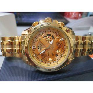 Casio Watch Edifice EF-550D Full Gold Chronograph 1 Yr Warranty