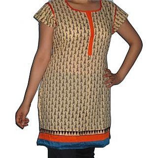 Best Quality Cotton Kurti With Rajasthani Print And Attractive Border - 74947608