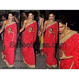 Bollywood Designer Sarees- Deepika Red Saree With Designer Blouse
