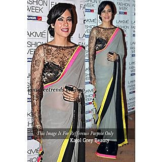 Kajol Grey Embroidered Saree