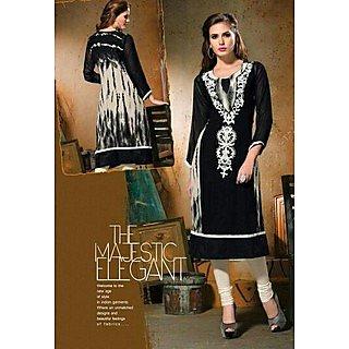 Simar !!! Party Wear Black Designer Pure Georgette Long Kurti / Kurtis Size