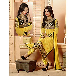 Colors Fashion Yellow Faux Georgette Latest Designer Party Wear Straight Fit Salwar Suit Dress