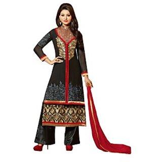 Colors Fashion Black Faux Georgette Latest Designer Party Wear Straight Fit Salwar Suit Dress