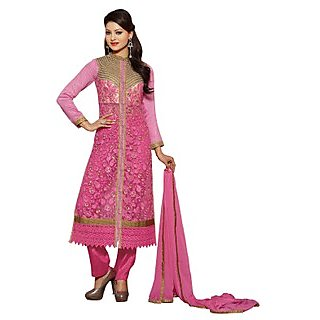 Colors Fashion Pink Faux Georgette Latest Designer Party Wear Straight Fit Salwar Suit Dress - 74922800