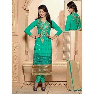 Colors Fashion Green Faux Georgette Latest Designer Party Wear Straight Fit Salwar Suit Dress