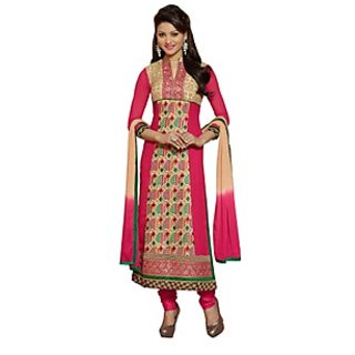 Colors Fashion Pink Faux Georgette Latest Designer Party Wear Straight Fit Salwar Suit Dress - 74922806