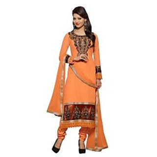 Colors Fashion Orange Faux Georgette Latest Designer Party Wear Straight Fit Salwar Suit Dress - 74922810