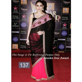 Magenta And Black Fancy Embroidery Work Bollywood Saree