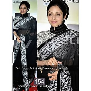 Shridevi Black And White Embroidery Work Bollywood Saree