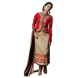 Colors Fashion Chikoo And Maroon Silk Latest Designer Party Wear Straight Fit Salwar Suit Dress