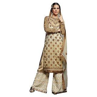 Colors Fashion Chikoo Jacquard Latest Designer Party Wear Straight Fit Salwar Suit Dress