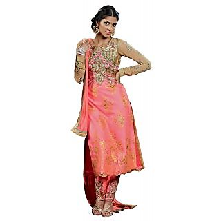 Colors Fashion Pink Net Latest Designer Party Wear Straight Fit Salwar Suit Dress
