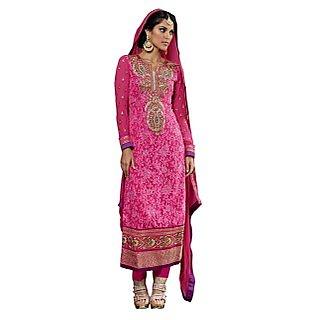 Colors Fashion Pink Faux Georgette Latest Designer Party Wear Straight Fit Salwar Suit Dress - 74922822