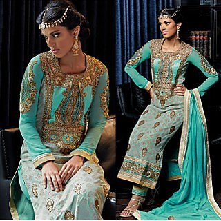 Colors Fashion Blue Jacquard Latest Designer Party Wear Straight Fit Salwar Suit Dress
