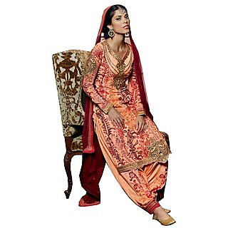 Colors Fashion Orange Faux Georgette Latest Designer Party Wear Straight Fit Salwar Suit Dress
