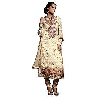 Colors Fashion Cream Faux Georgette Latest Designer Party Wear Straight Fit Salwar Suit Dress