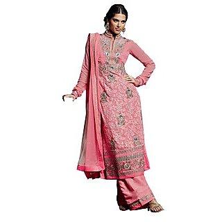 Colors Fashion Pink Faux Georgette Latest Designer Party Wear Straight Fit Salwar Suit Dress