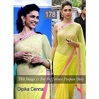 Dipika Lemon Yellow With Embroidery Work Bollywood Saree